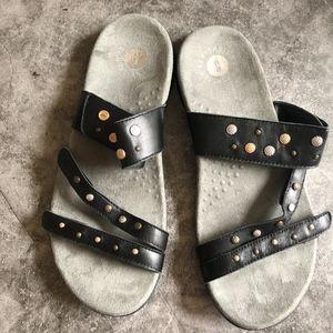 Revitalign Mixed Metal Black Strappy Sandals 9